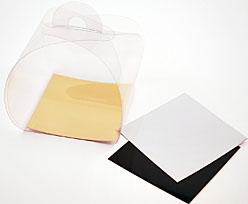 PVC take away box L75xW75xH75mm + silver cardboard
