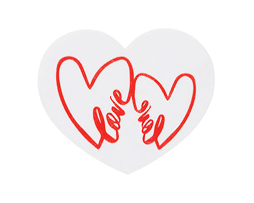 Double Hearts Label 500pcs on rol white/red