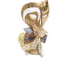 mask venetian ceramix on stand, ivorygold