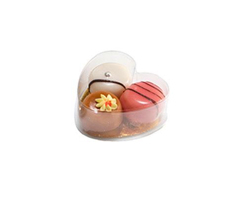 PVC Heartbox mini with goldcarton L70xW70xH30mm
