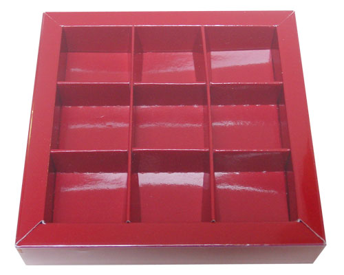 Windowbox 100x100x19mm 9 division brique laqué