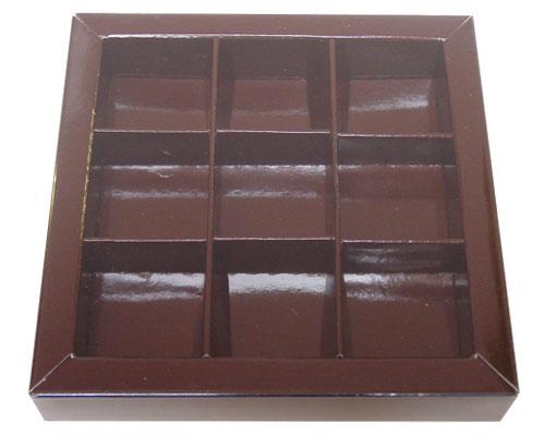 Windowbox 100x100x19mm 9 division chocolat laqué