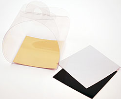 PVC take away box L90xW90xH80mm + gold cardboard