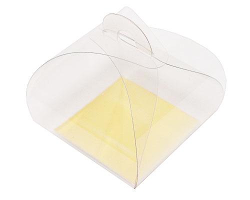 PVC take away box L55xW55xH50mm + gold cardboard