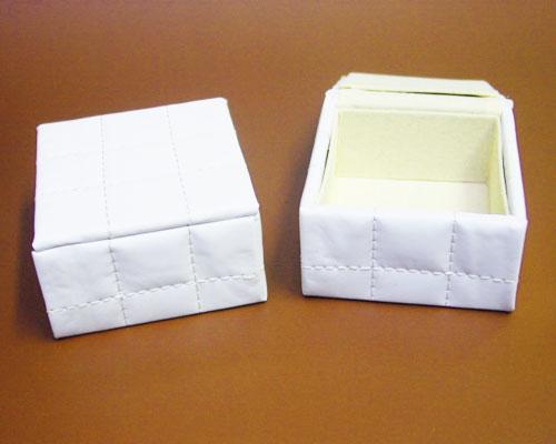 Box simil pelle L70xW70xH34mm white